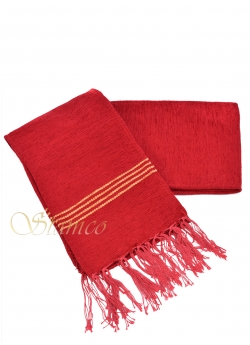 Red Woven Wool Belt with Fringes