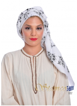Traditional Cotton White Scarf