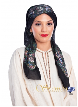Traditional Black Cotton Scarf