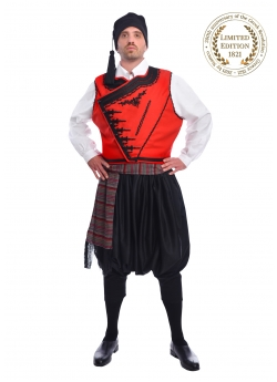 Traditional Greek Island Costume with Embroidered Vest