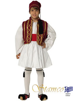 Traditional Dress Tsolias Bordeau-Gold